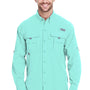 Columbia Mens Bahama II Moisture Wicking Long Sleeve Button Down Shirt w/ Double Pockets - Gulf Stream Green