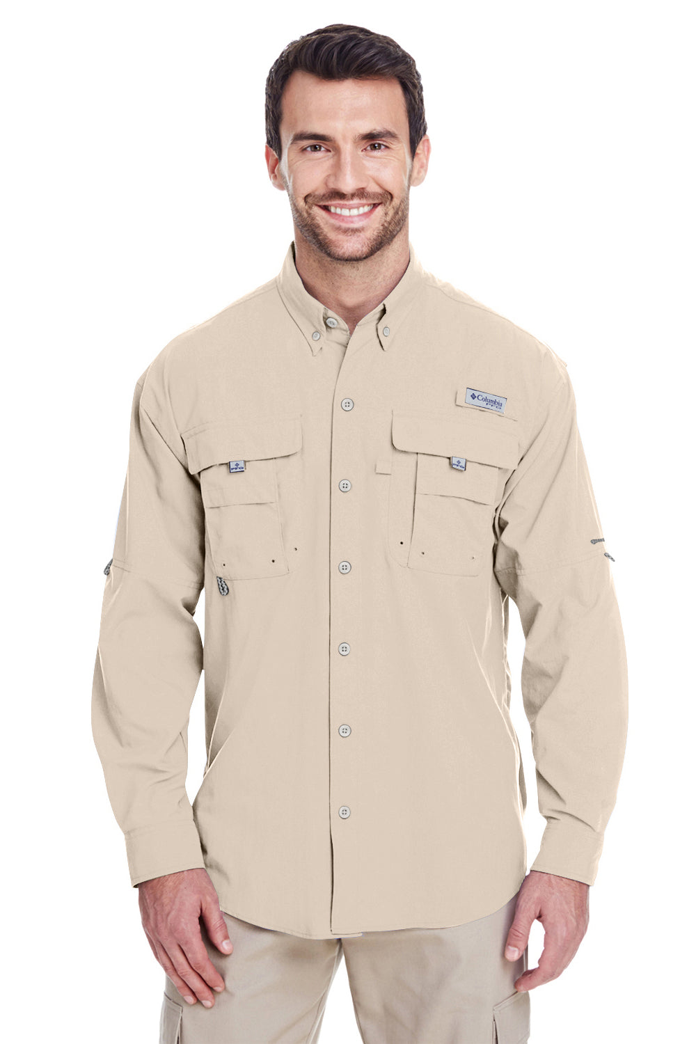 Columbia 7048 Mens Bahama II Moisture Wicking Long Sleeve Button Down Shirt w/ Double Pockets Fossil Brown Front