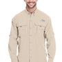 Columbia Mens Bahama II Moisture Wicking Long Sleeve Button Down Shirt w/ Double Pockets - Fossil