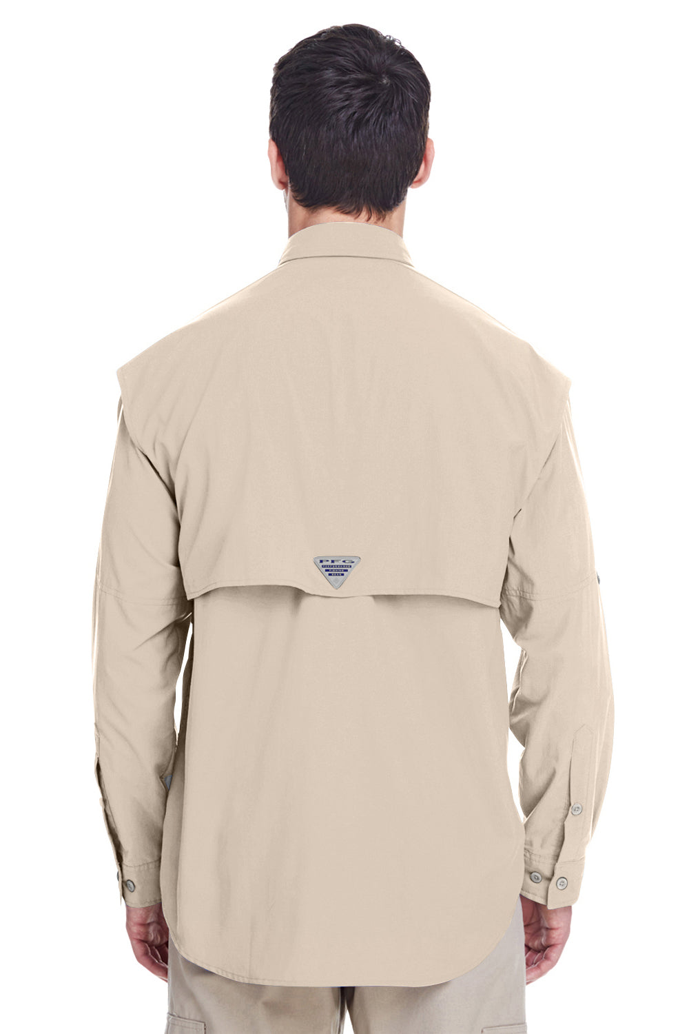 Columbia 7048 Mens Bahama II Moisture Wicking Long Sleeve Button Down Shirt w/ Double Pockets Fossil Brown Back