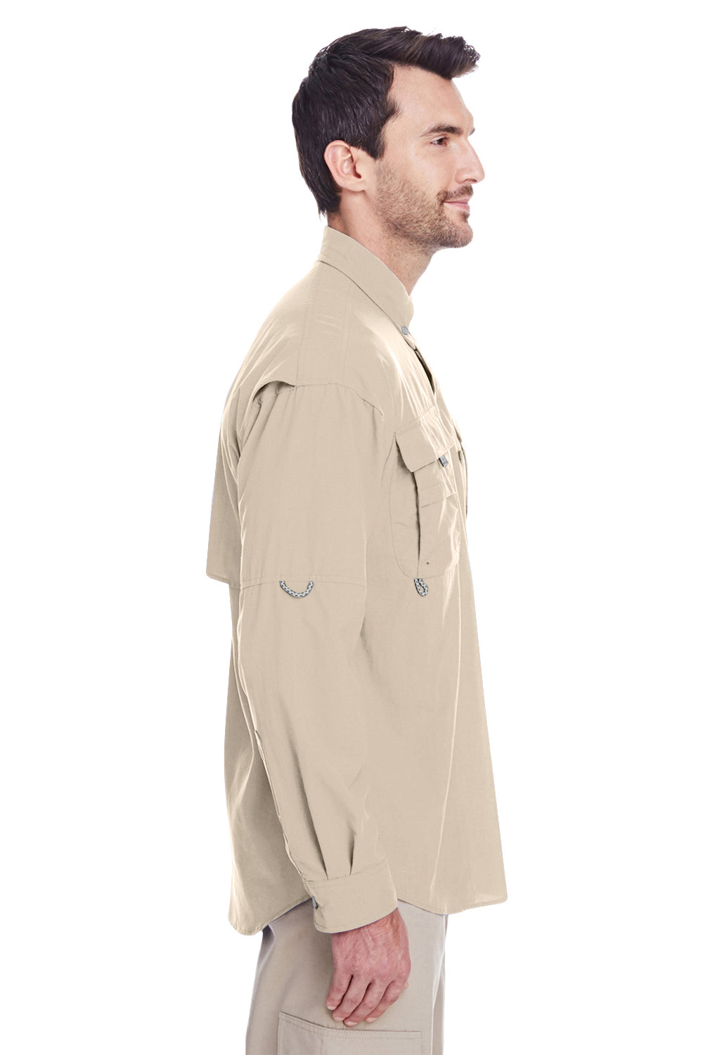 Columbia 7048 Mens Bahama II Moisture Wicking Long Sleeve Button Down Shirt w/ Double Pockets Fossil Brown Side