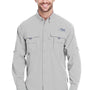 Columbia Mens Bahama II Moisture Wicking Long Sleeve Button Down Shirt w/ Double Pockets - Cool Grey