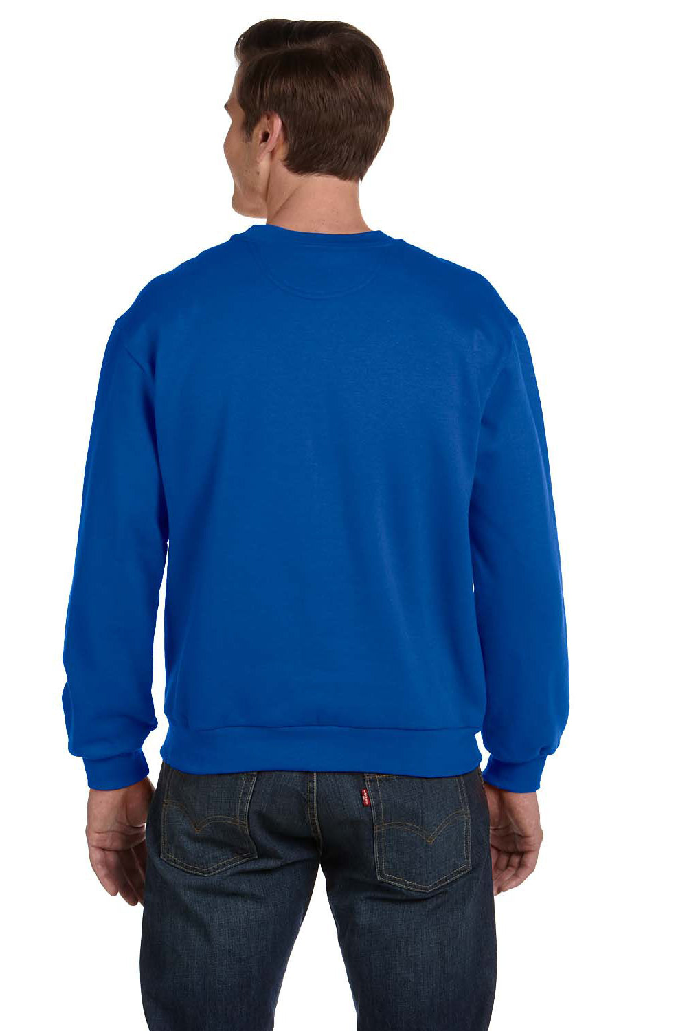 Anvil 71000 Mens Fleece Crewneck Sweatshirt Royal Blue Back