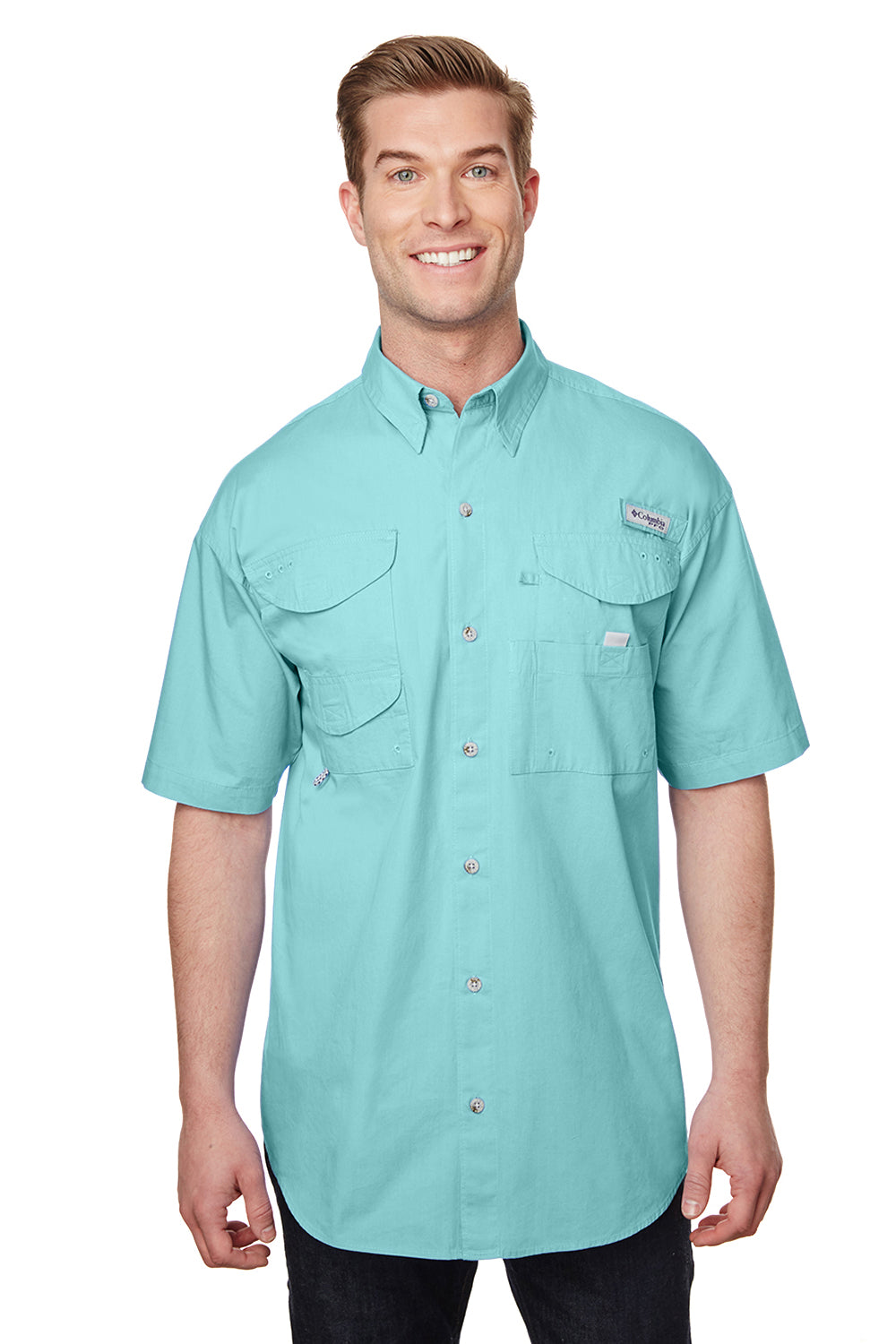 Columbia 7130 Mens Bonehead Short Sleeve Button Down Shirt w/ Double Pockets Gulf Stream Green Front