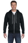 Anvil 71600 Mens Fleece Full Zip Hooded Sweatshirt Hoodie Black Front