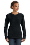 Anvil 72000L Womens French Terry Crewneck Sweatshirt Black Front