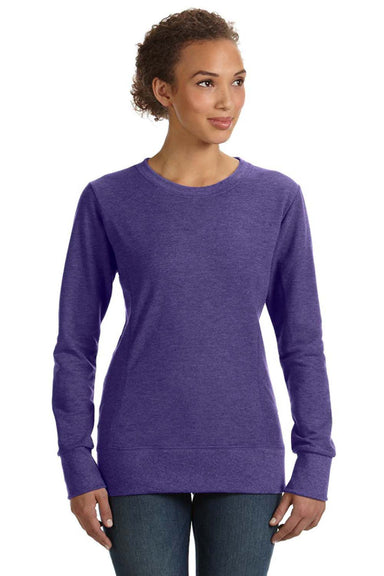 Anvil 72000L Womens French Terry Crewneck Sweatshirt Heather Purple Front