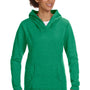 Anvil Womens Heather Green French Terry Hooded Sweatshirt Hoodie