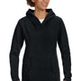 Anvil Womens Black French Terry Hooded Sweatshirt Hoodie