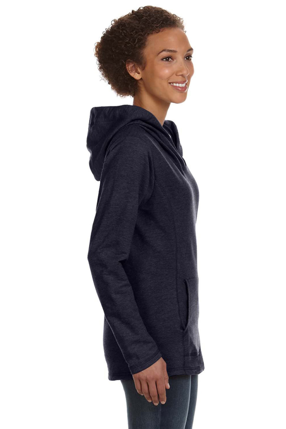 Anvil 72500L Womens French Terry Hooded Sweatshirt Hoodie Navy Blue Side
