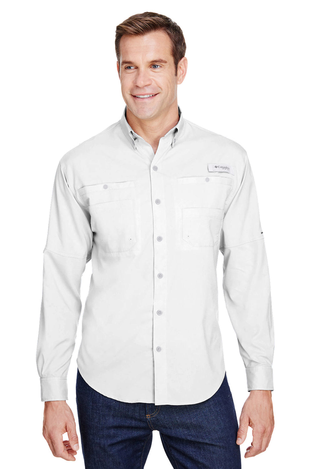 Columbia 7253 Mens Tamiami II Moisture Wicking Long Sleeve Button Down Shirt w/ Double Pockets White Front