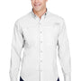 Columbia Mens Tamiami II Moisture Wicking Long Sleeve Button Down Shirt w/ Double Pockets - White