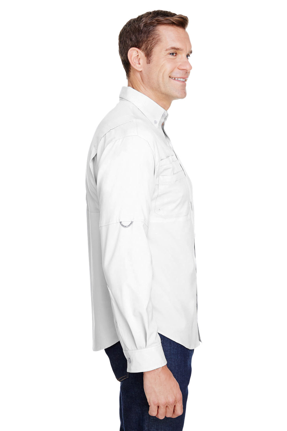 Columbia 7253 Mens Tamiami II Moisture Wicking Long Sleeve Button Down Shirt w/ Double Pockets White Side