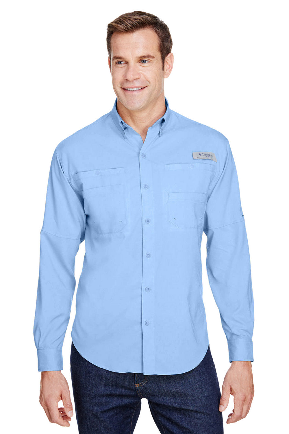 Columbia 7253 Mens Tamiami II Moisture Wicking Long Sleeve Button Down Shirt w/ Double Pockets Sail Blue Front