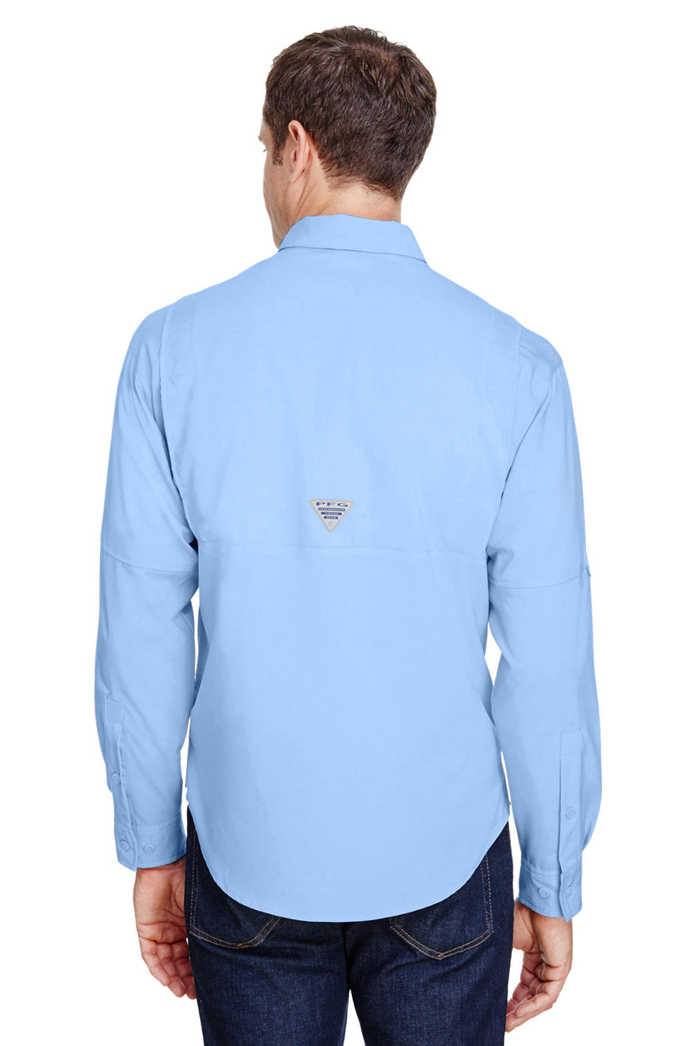 Columbia 7253 Mens Tamiami II Moisture Wicking Long Sleeve Button Down Shirt w/ Double Pockets Sail Blue Back
