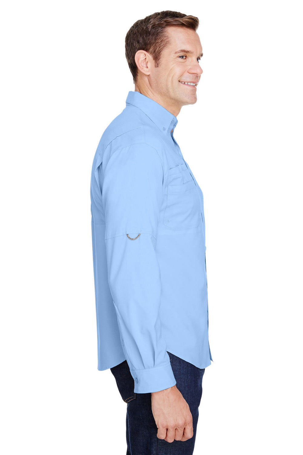Columbia 7253 Mens Tamiami II Moisture Wicking Long Sleeve Button Down Shirt w/ Double Pockets Sail Blue Side