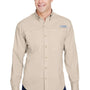 Columbia Mens Tamiami II Moisture Wicking Long Sleeve Button Down Shirt w/ Double Pockets - Fossil