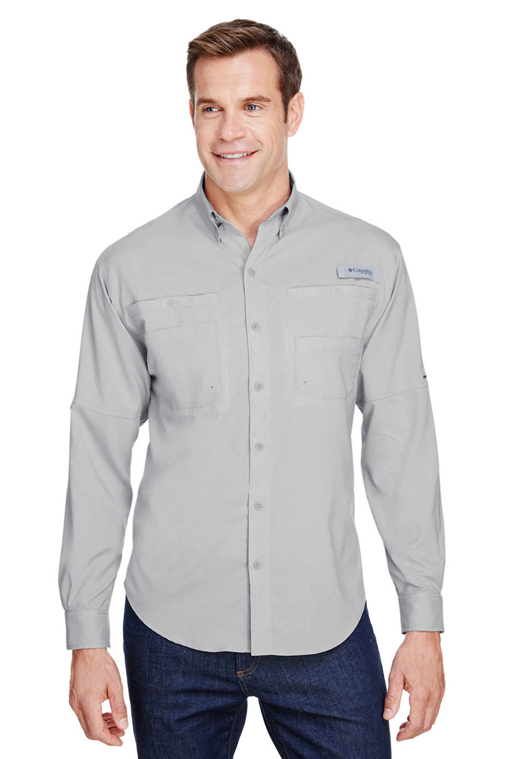 Columbia 7253 Tamiami II Moisture Wicking Long Sleeve Button Down Shirt w/ Double Pockets Cool Grey Front