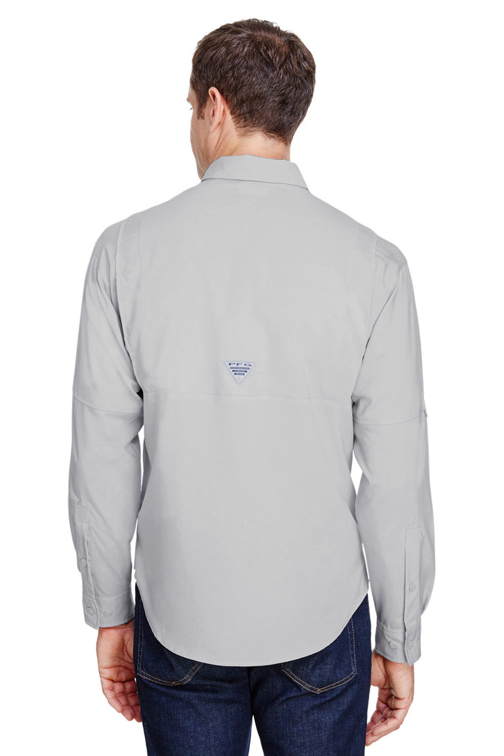 Columbia 7253 Tamiami II Moisture Wicking Long Sleeve Button Down Shirt w/ Double Pockets Cool Grey Back