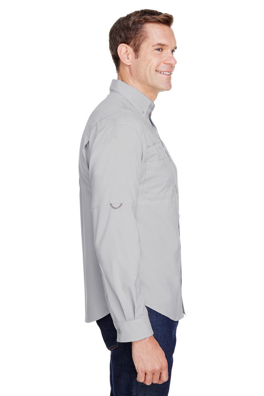 Columbia 7253 Tamiami II Moisture Wicking Long Sleeve Button Down Shirt w/ Double Pockets Cool Grey Side