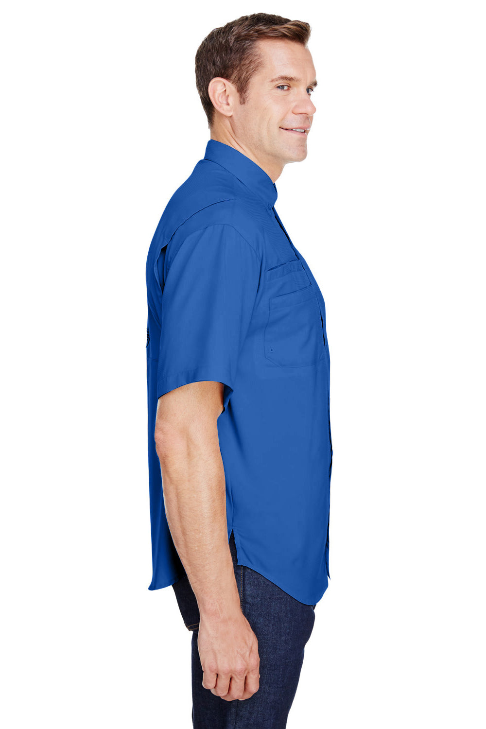 Columbia 7266 Mens Tamiami II Moisture Wicking Short Sleeve Button Down Shirt w/ Double Pockets Vivid Blue Side