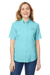 Columbia 7277 Womens Tamiami II Moisture Wicking Short Sleeve Button Down Shirt w/ Double Pockets Clear Blue Front