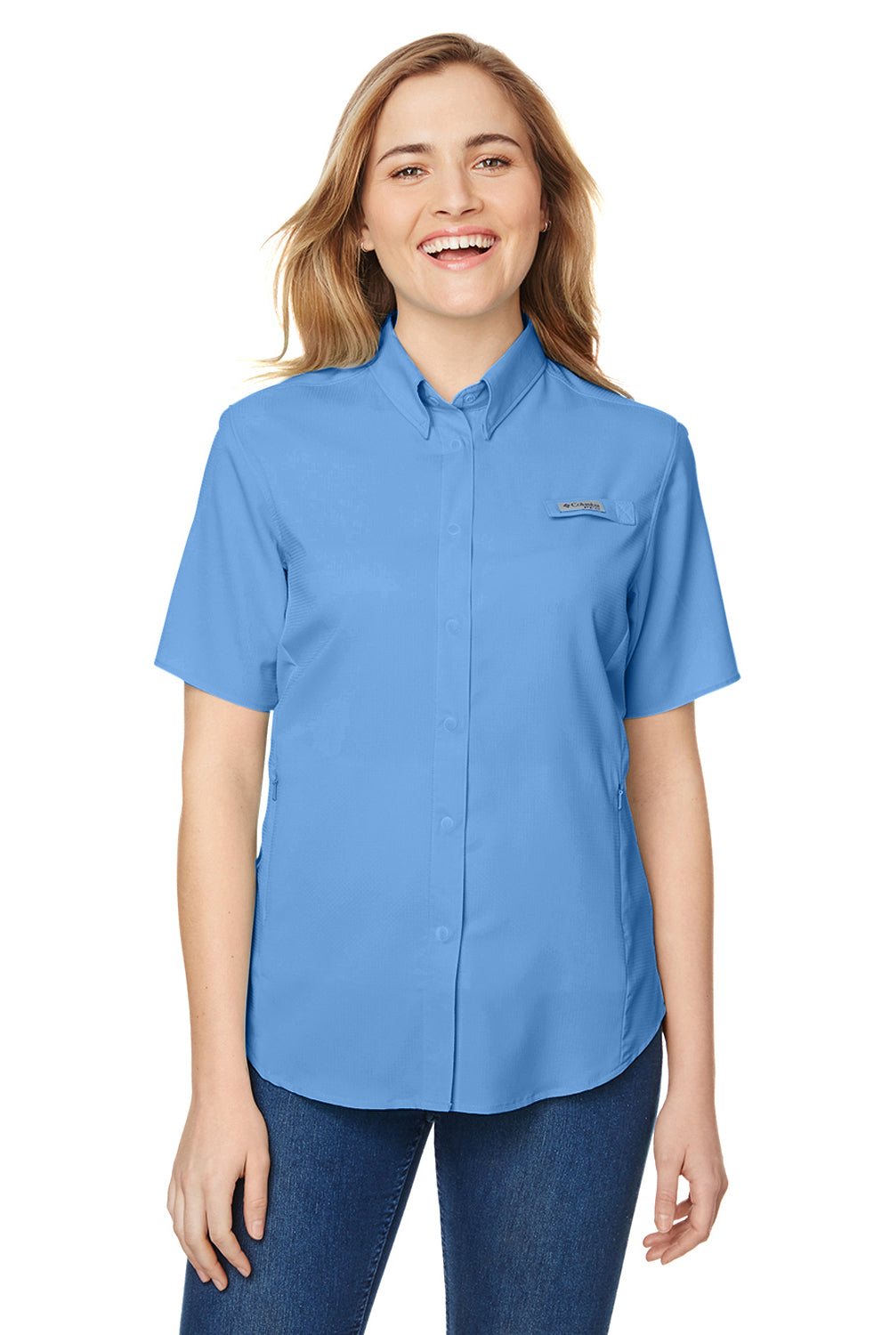 Columbia 7277 Womens Tamiami II Moisture Wicking Short Sleeve Button Down Shirt w/ Double Pockets White Cap Blue Front