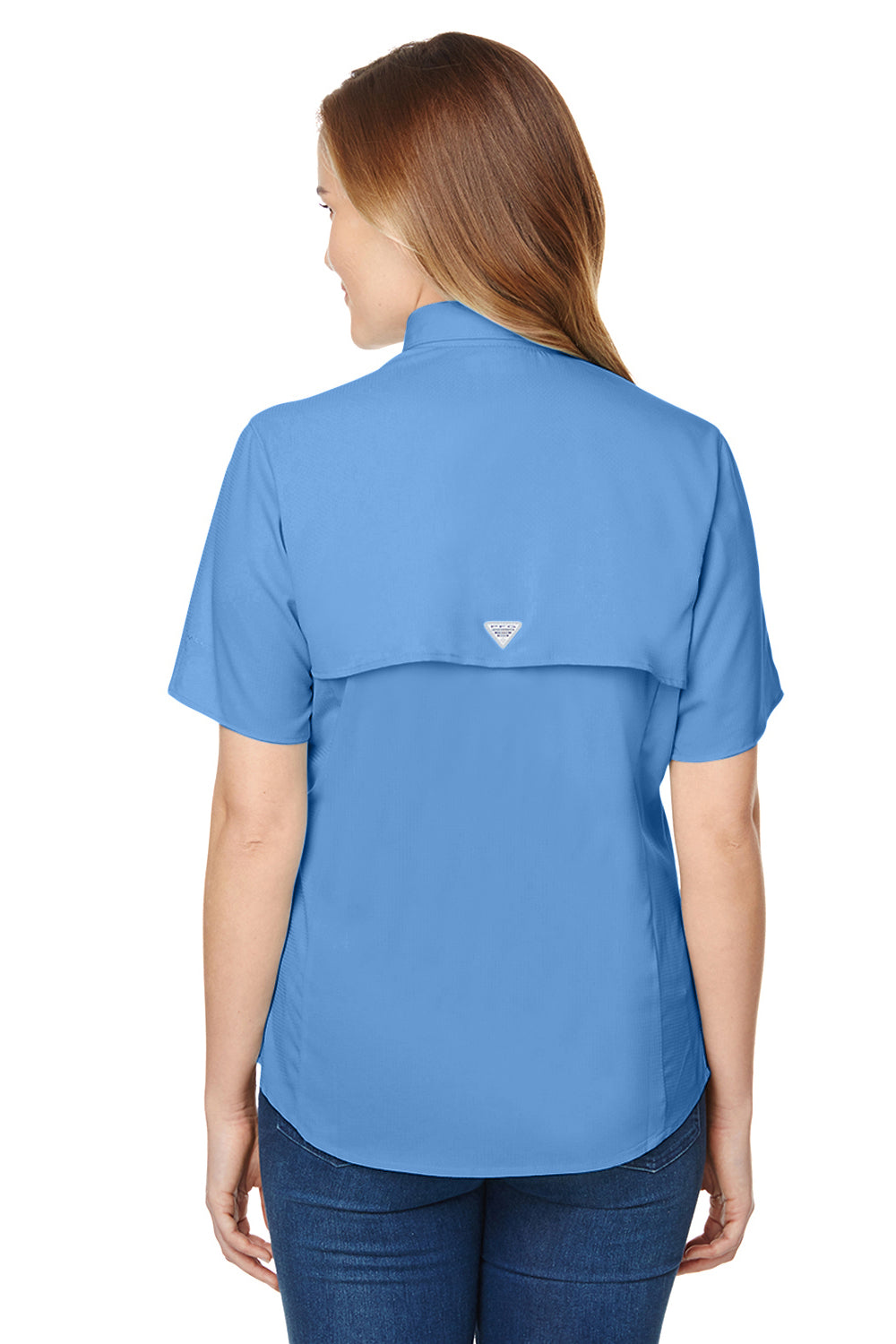 Columbia 7277 Womens Tamiami II Moisture Wicking Short Sleeve Button Down Shirt w/ Double Pockets White Cap Blue Back