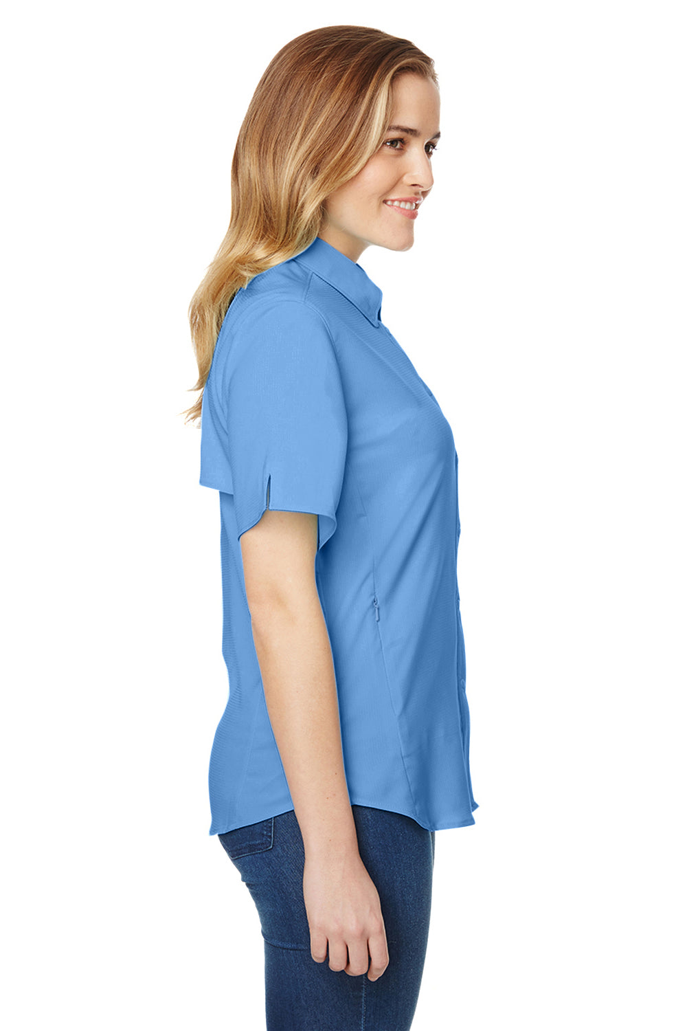 Columbia 7277 Womens Tamiami II Moisture Wicking Short Sleeve Button Down Shirt w/ Double Pockets White Cap Blue Side