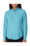 Columbia 7278 Womens Tamiami II Moisture Wicking Long Sleeve Button Down Shirt w/ Double Pockets Clear Blue Front