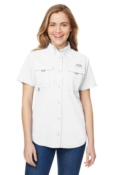 Columbia 7313 Womens Bahama Moisture Wicking Short Sleeve Button Down Shirt w/ Double Pockets White Front