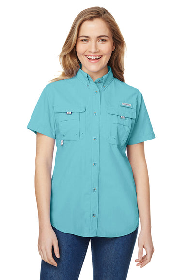 Columbia 7313 Womens Bahama Moisture Wicking Short Sleeve Button Down Shirt w/ Double Pockets Clear Blue Front