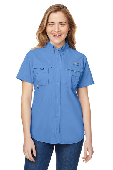 Columbia 7313 Womens Bahama Moisture Wicking Short Sleeve Button Down Shirt w/ Double Pockets White Cap Blue Front