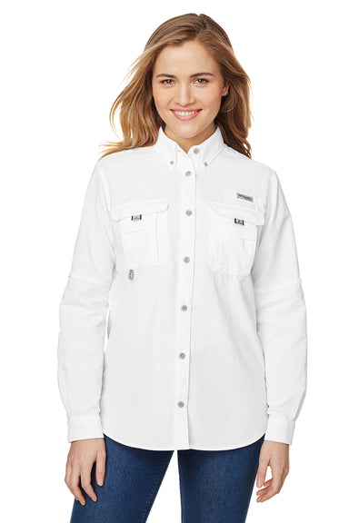 Columbia 7314 Womens Bahama Moisture Wicking Long Sleeve Button Down Shirt w/ Double Pockets White Front