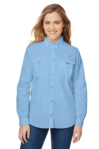 Columbia 7314 Womens Bahama Moisture Wicking Long Sleeve Button Down Shirt w/ Double Pockets White Cap Blue Front