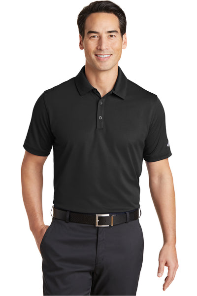 Nike 746099 Mens Icon Dri-Fit Moisture Wicking Short Sleeve Polo Shirt Black Front