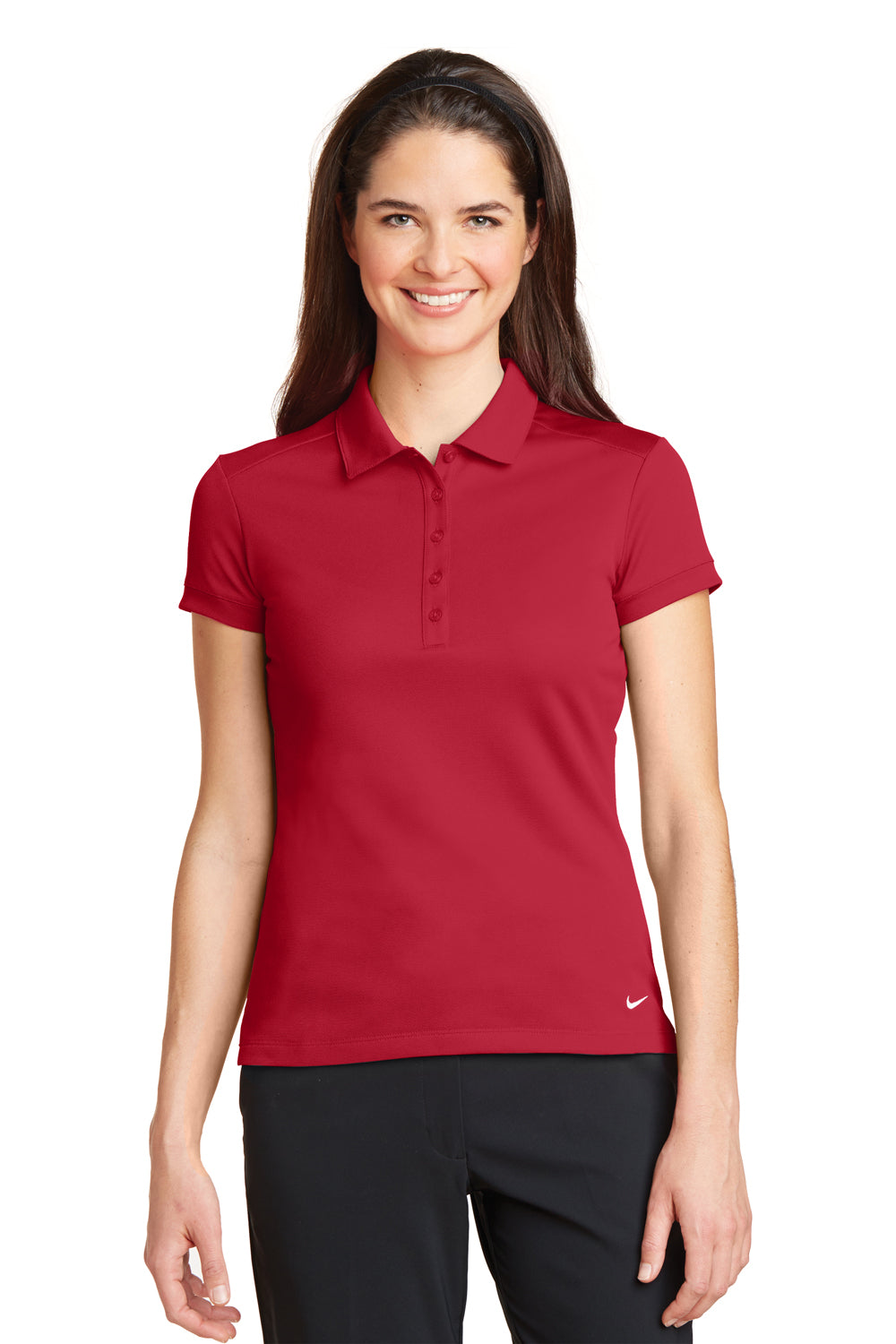 Nike 746100 Womens Icon Dri-Fit Moisture Wicking Short Sleeve Polo Shirt Red Front