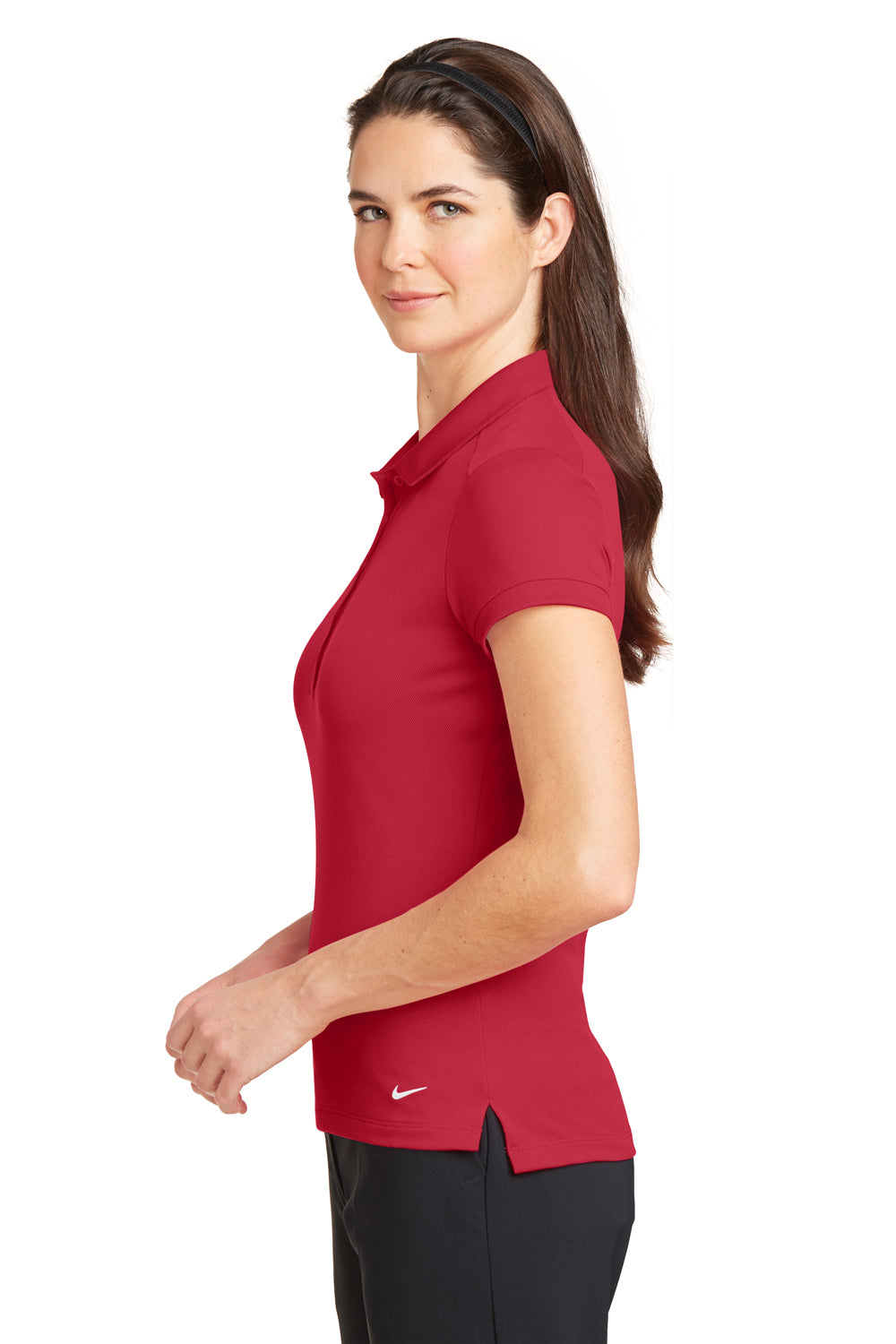Nike 746100 Womens Icon Dri-Fit Moisture Wicking Short Sleeve Polo Shirt Red Side