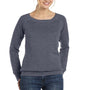 Bella + Canvas Womens Sponge Fleece Wide Neck Sweatshirt - Heather Deep Grey