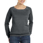 Bella + Canvas Womens Sponge Fleece Wide Neck Sweatshirt - Solid Black