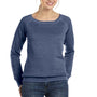Bella + Canvas Womens Sponge Fleece Wide Neck Sweatshirt - Navy Blue Triblend