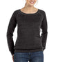 Bella + Canvas Womens Sponge Fleece Wide Neck Sweatshirt - Charcoal Black