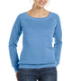 Bella + Canvas Womens Sponge Fleece Wide Neck Sweatshirt - Blue