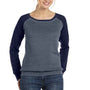 Bella + Canvas Womens Sponge Fleece Wide Neck Sweatshirt - Heather Deep Grey/Navy Blue