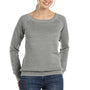 Bella + Canvas Womens Sponge Fleece Wide Neck Sweatshirt - Light Grey Marble