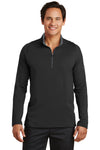 Nike 779795 Mens Dri-Fit Moisture Wicking 1/4 Zip Sweatshirt Black/Red Front