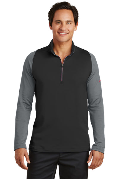 Nike 779795 Mens Dri-Fit Moisture Wicking 1/4 Zip Sweatshirt Black/Dark Grey Front