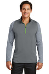 Nike 779795 Mens Dri-Fit Moisture Wicking 1/4 Zip Sweatshirt Black/Cool Grey Front