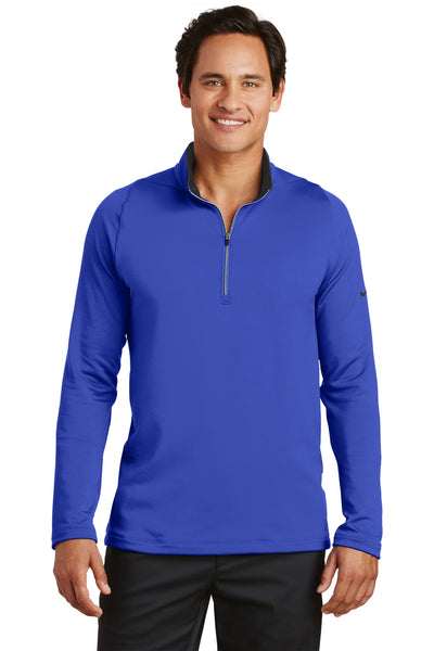 Nike 779795 Mens Dri-Fit Moisture Wicking 1/4 Zip Sweatshirt Royal Blue/Black Front