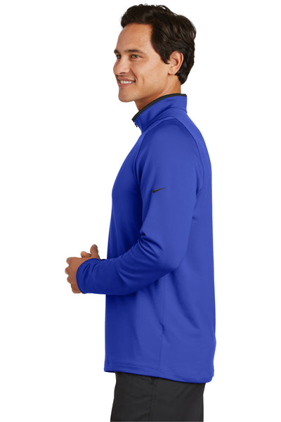 Nike 779795 Mens Dri-Fit Moisture Wicking 1/4 Zip Sweatshirt Royal Blue/Black Side